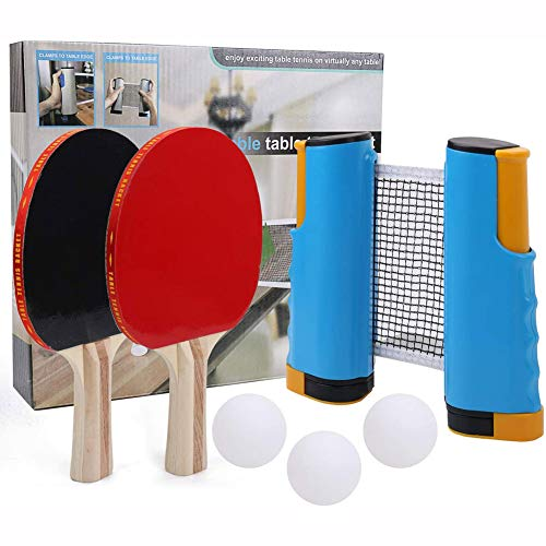 Find Discount MSHK Ping Pong Paddle Set, 2 Player,Pingpong Paddle with 2 Bats 3 Ping Pong 1 Retracta...