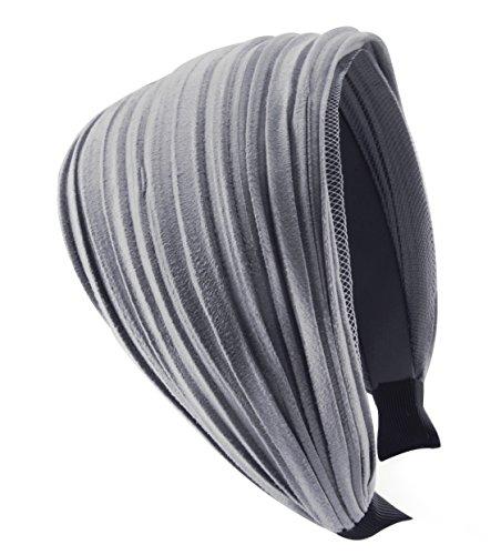 axy HR32 Haarreif Serie 32 Hair Band mit leichtem Flanell (Leder Optik) (Grau)