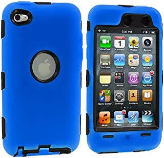 N MARKET Blue Deluxe Hybrid Premium Rugged Hard Soft Case Skin Cover for iPod Touch 4th Generation 4G 4