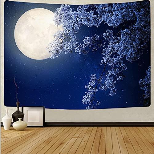 Luna tapiz colgante de pared paisaje cielo azul tapiz psicodélico fondo tela de pared manta toalla de playa tapiz A8 130x150cm