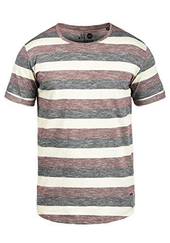 !Solid Thicco Herren T-Shirt Kurzarm Shirt Mit Streifen Und Rundhalsausschnitt 100% Baumwolle, Größe:XL, Farbe:Wine Red (0985)