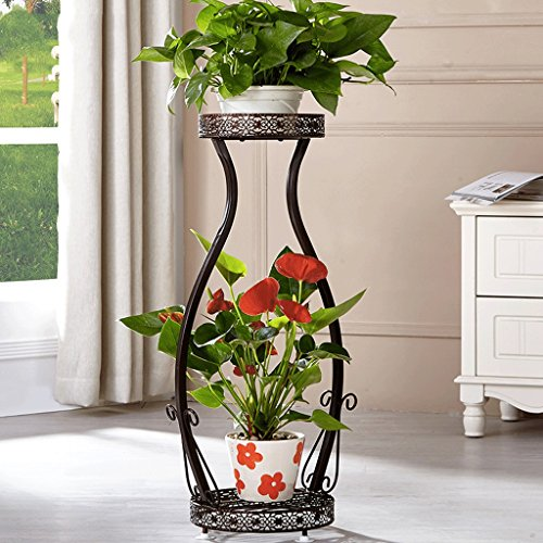 DGFSupport de fleurs, Fer à repasser en bois à l'intérieur et à l'extérieur à plusieurs étages/salon balcon étagère décorative pour plantes (Énergie A +) (Couleur : Marron)
