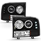 ACANII - For 1999-2004 Ford F250 F350 F450 SuperDuty Excursion LED Halo Black Housing Projector Headlights Headlamps