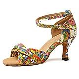 YKXLM Nuevas Mujeres Zapatos de Baile de Tango Salón de Baile Latino Zapatos de Baile de Cuero para Mujeres Salsa Zapatos de Mujer,ESYCL255-10,Amarillo,EU 35