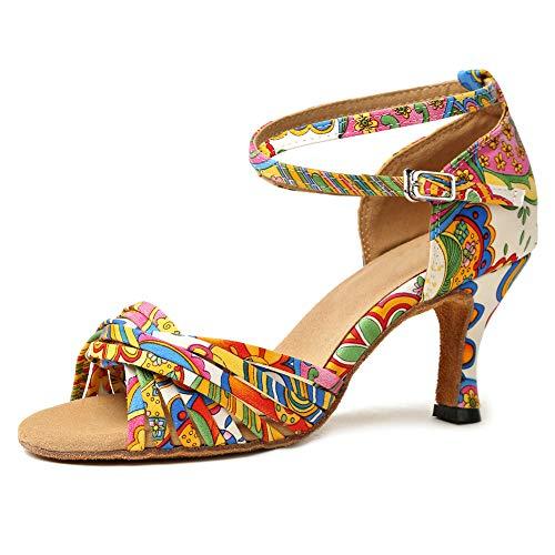 YKXLM Nuevas Mujeres Zapatos de Baile de Tango Salón de Baile Latino Zapatos de Baile de Cuero para Mujeres Salsa Zapatos de Mujer,Modelo ESYCL255