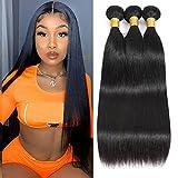 Mariska 10A Straight Human Hair Bundles Virgin Brazilian Straight Hair 3 Bundles (12 14 16) 100% Unprocessed Human Hair 3 Bundles for Black Women (12 14 16, natural color 3 bundles)