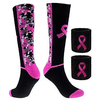 Sports Breast Cancer Awareness Pink Ribbon Socks & Wristbands Set - 1 Pair Athletic Digital Camo Crew Socks+ 2 Pcs Wrist Sweatbands