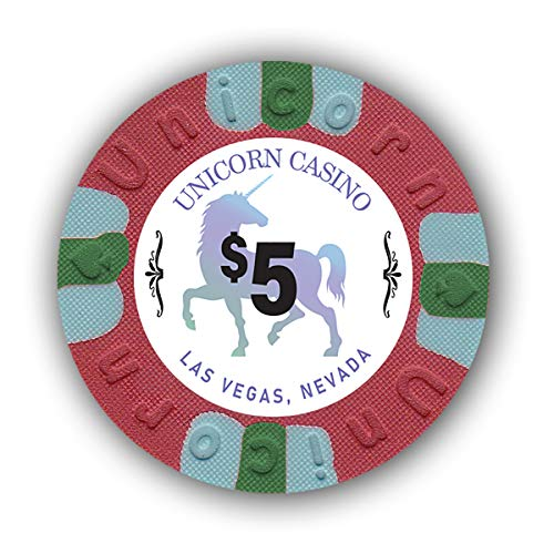DA VINCI Pack of 50 Unicorn All Clay 8.5 Gram Poker Chips with Denomination, Authentic Casino Weighted Chips (Red $5)