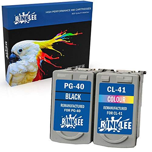 RINKLEE Remanufacturado para Canon PG-40 CL-41 Cartucho de Tinta Compatible con Canon Pixma iP2600 MP140 MP460 iP1800 iP1900 iP2500 MP190 MP210 MP220 MP170 MP180 MP160 MP450 MP150 | 1 Negro, 1 Color