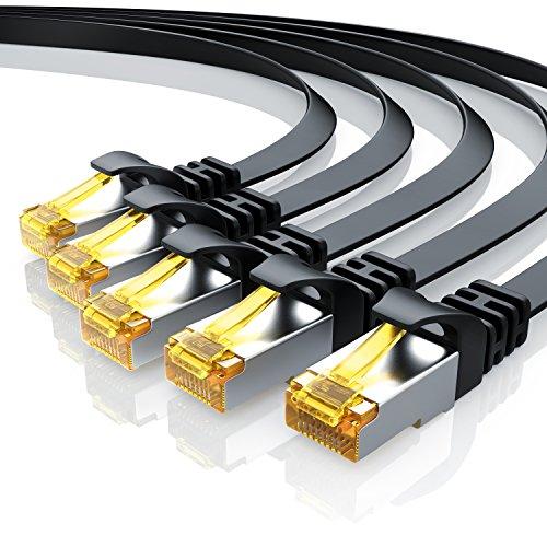 Primewire - 5 câbles réseau Cat 7 Plat d' 1m - Câble Ethernet - Gigabit réseau Local LAN 10 Gbps - Set de câbles Patch - Câbles de Pose - Câble Cat.7 Brut Blindage U FTP avec fiche RJ 45 - Noir