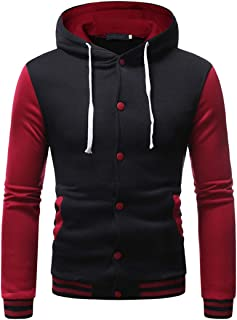 Jacket Men Varsity College Slim Fit Hooded Baseball Jackets Leisure Hooded Jogging Sweatshirt Buttons Drawstring Pocket Pa...