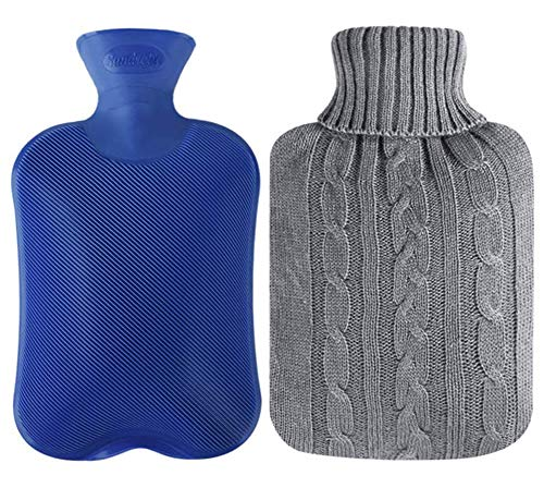 Attmu Classic Rubber Hot Water Bottle 2 Liter with 2 Pack Knit...