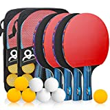 Powcan Ping Pong Set Portable Table Tennis Set Ping-Pong Game Pingpong Racket Set with 4Table Tennis Bats/Rackets/Paddles, 8 Ping-Pong Balls & 2 Carry Cases for Trainers, Amateurs, Beginners, Expert