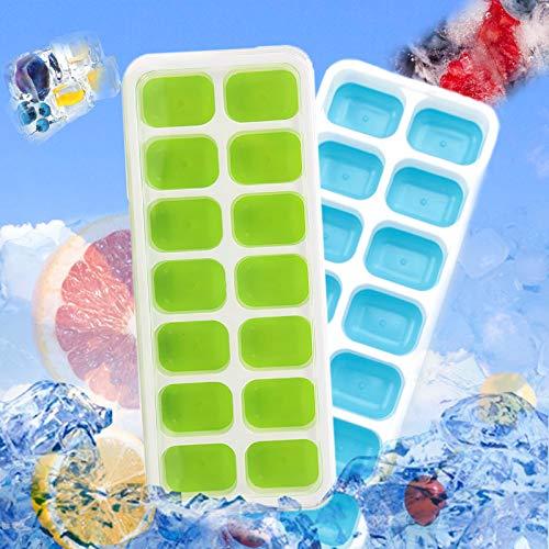 Molde de silicona para 14 cubitos de hielo con tapa, recipiente para cubitos de hielo con tapa, molde para alimentos para bebés, pequeño, tapa apilable, certificado por LfGB, azul y verde
