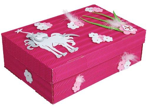 alles-meine.de GmbH Bastelset Schulbox / Kreativbox - Pferd Einhorn Mädchen rosa pink - Schule Basteln Malbox für Kinder / Zeichenbox Schachtel / Spielzeugkiste / Box