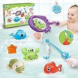 KWINY Juguetes de baño Juegos de pesca, juguetes de mesa de agua con red de pesca y varilla, lindos juguetes de natación para bebés niños niñas 1 2 3 4 5 6 años