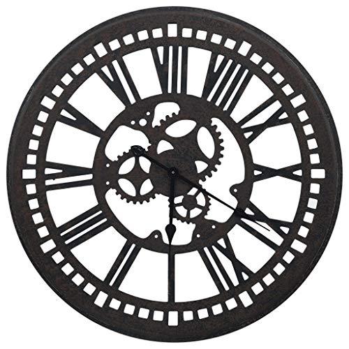 Estink Reloj de pared redondo de madera, movimiento de cuarzo con gran...