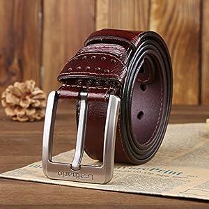 51NIbTuVpJL. SS300  - Leathario cinturones de hombre de piel sintetica cinturones de moda de cuero con buenos acabados para caballeros hebilla…