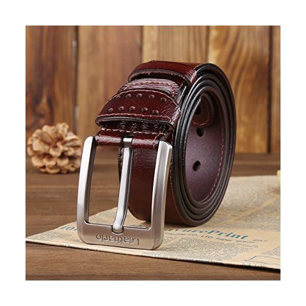 51NIbTuVpJL. SS600  - Leathario cinturones de hombre de piel sintetica cinturones de moda de cuero con buenos acabados para caballeros hebilla elegante