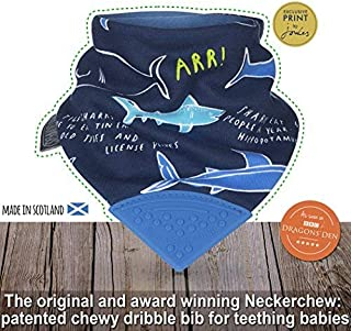 The Original Chewy Teething Bib : Exclusive Joules Range | Shark Neckerchew with Indigo Blue Teether by CHEEKY CHOMPERS