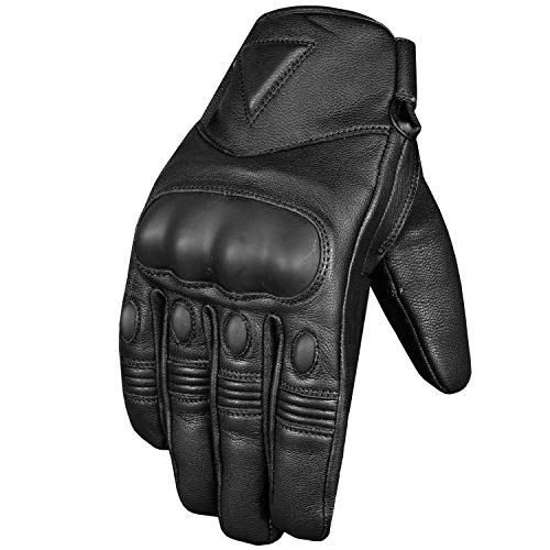 Men's Premium Leather Protective Cruiser Street Motorcycle Biker Gel Gloves L