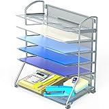 SimpleHouseware 6 Trays Desktop Document Letter Tray Organizer, Silver