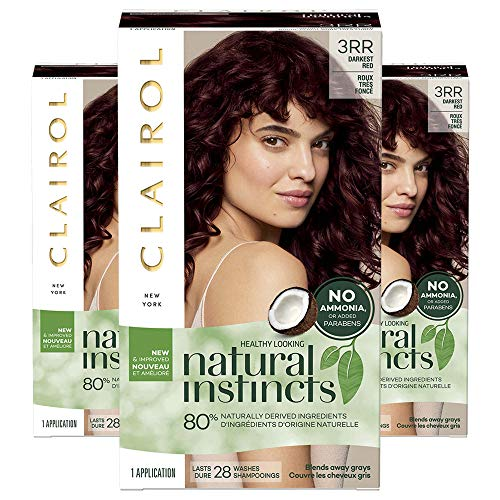 Clairol Natural Instincts Semi-Permanent, 3RR Darkest Red, 3 Count