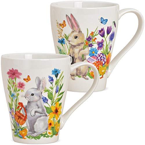 matches21 Tassen Kaffeetassen Kaffeebecher Osterdekor Osterhasen mit bunten Blumen Porzellan 350 ml 11 cm 2er Set sort