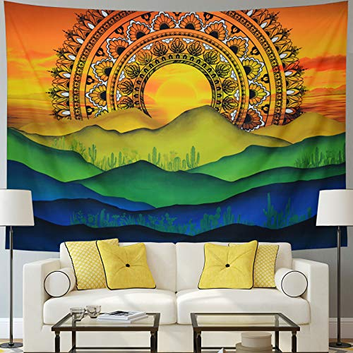 Mountain Tapestry Psychedelic Mandala Tapestry Sun and Wave Tapestry Watercolor Cactus Tapestry Hippie Sunset Nature Landscape Tapestry Wall Hanging for Living Room