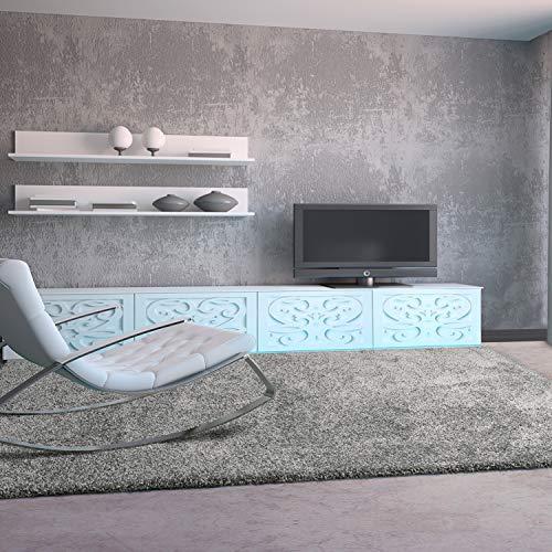 UNIVERSAL Alfombra salón de Pelo Largo Shaggy Aqua Liso Plata 100x150 cm, 35446
