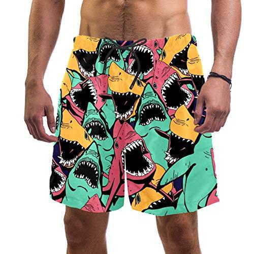 Herren Strand-Shorts mit Tiermotiv, buntes Haifisch-Muster, elastischer Badeanzug, Board-Shorts für Herren, L Gr. L/XL, multi