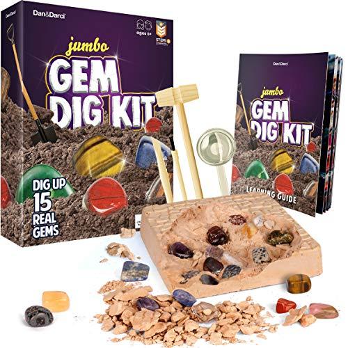 Dan & Darci Mega Gem Dig Kit - Dig up 15 Real Gemstones - Great Science kit, Gemology, Mining Gift for Kids, Boys Girls - Rocks, Minerals, Excavation Toys