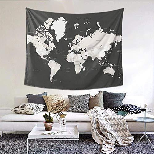 Mapa del Mundo de Pizarra con países y Estados, Tapiz etiquetado, Tapiz para Colgar en la Pared, Tapiz Vintage, Tapiz de Pared, Microfibra, melocotón, decoración del hogar, 59 x 59 Pulgadas