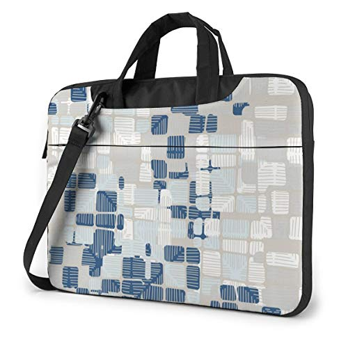 Laptop Case 13in Blue and White Plaid Pattern Laptop Carrying Protective Case Sleeve Briefcase Messenger Shoulder Bag for Women Men Travel
