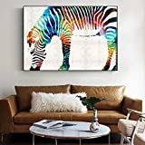 ganlanshu Pittura Senza Cornice Acquerello Zebra Pop Art Pittura murale Tela Tela colorata Colorful40X60cm