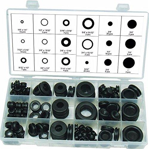 Dichtungstüllen-Sortiment, Gummi, O-Ring, hydraulische Klempner- Dichtung, Paintball-Dichtungen, Elektro-Dichtung, Unterlegscheiben, Schwarz, 125-teilig