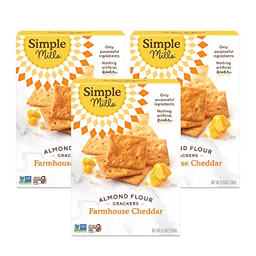 Simple Mills Almond Flour Crackers, Farmhouse Cheddar, Gluten Free, Flax Seed, Sunflower Seeds, Corn Free, Good for Snacks, Made with whole foods, 3 Count (Packaging May Vary)