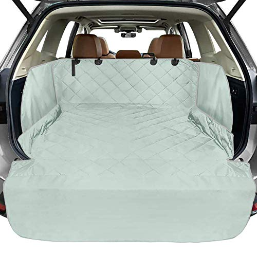 FunniPets Cargo Liner for SUV, Waterproof Dog Cargo Cover with Side Walls Protector and Bumper Flap, Non-Slip Backing, Quilted Pet Seat Cover, Large Size Universal Fit, Grey