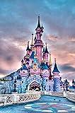 Kit de Pintura de Diamantes 5D completo Castillo de hadas rosa diy 5d diamond painting bordado de cristales manualidades decoración de pared del hogar 30x40 cm (Sin marco)