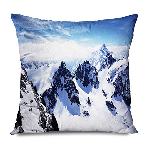 DANGCCI Winter Throw Pillow Cover Square 16x16 Inches Winter Snowy Mountain Peaks Tops High Lands Northern Scenic Alps Panorama Valley White B Pillowcase Home Decor Cushion Case