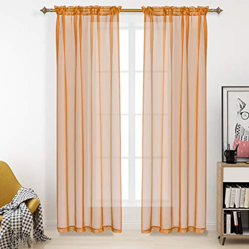 RAIN CITY Orange Voile Sheer Curtains Rod Pocket Windows Treatment Panels Drapes 95 Inches Long for Living Room and Bedroom Solid Sheer Curtains 2 Pieces 52X95 Inch Orange
