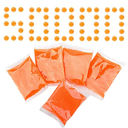 Nazano Gel Ball Blaster Refill Ammo (5 Pack–10,000 Per Pack)– Water Bullets Beads Made for Gel Blasters Eco Friendly, Non-Toxic, Water Based Gel Balls Bullet (Orange 5 pack-7-8mm)