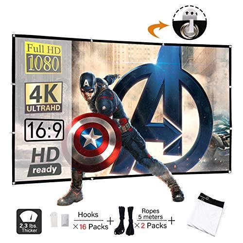 Display4top 100 inch 16:9 HD Opvouwbaar Projector Scherm, Anti-kreuk Draagbare Voor & Achter Projectie Films Scherm voor Home Theater Outdoor Indoor Klas Training