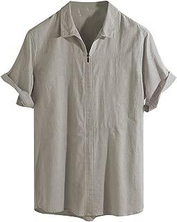Jumaocio Men Cotton Linen Solid Short Sleeve Retro T Shirts Tops