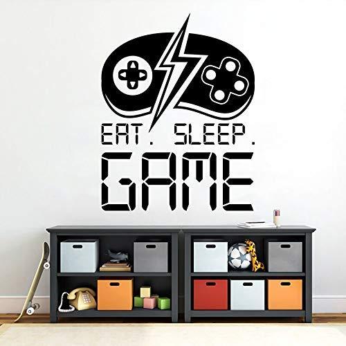 Eat Sleep Games Decal Gamer Wall Sticker Controller Sticker Boy Decor Video Game Gift Game Room Decor personalizado para niños A 42X54Cm