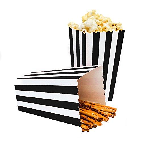 24pcs Striped Paper Popcorn Boxes for Party Favor Supplies (Black)