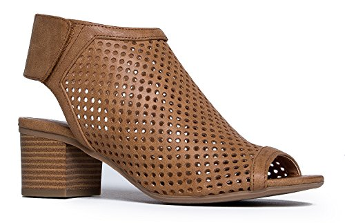 J. Adams Maddie Cutout Bootie - Adjustable Band Slip On Low Stacked Heel Shoes, Tan Pu, 7.5