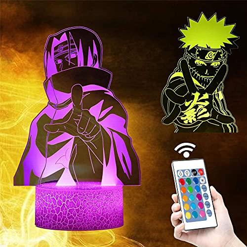 Uzumaki Naruto 3D ilusión noche lámpara bebé noche luz 16 colores luz de aire caliente globo noche luz para cumpleaños vacaciones decoración regalo