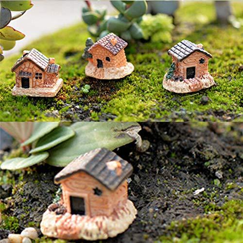 DFGTR Adornos Figuras Decorativas 3 Unids DIY Micro Figuras De Jardín De Hadas Kawaii Tablero De Madera Casa Miniaturas/Decoración De Casa De Muñecas Terrario/Suculentas Adornos Figuras Decora: Amazon.es: Hogar