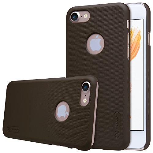 Nillkin Frosted Shield - Carcasa Trasera Protectora Super Ligera, Funda Antideslizante, Estuche Anti-Rayones con Regalo para iPhone 7, Marrón